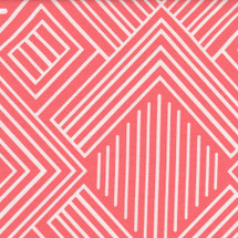 coral and white geometric fabric