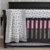 grey deer baby bedding with pink accents