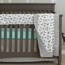deer baby bedding with aqua accents