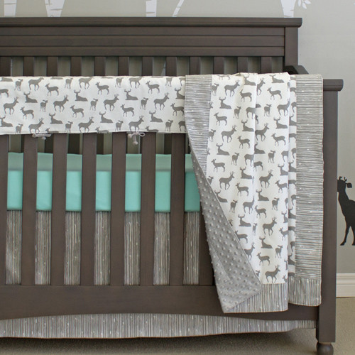 grey deer crib bedding set 4pc with rail protector (premium
