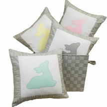 GREY DEER Decor Nursery Pillow - Fawn Applique