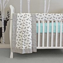 Grey Deer crib bedding with aqua accents