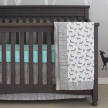 Grey Deer Bumperless crib set with aqua sheet