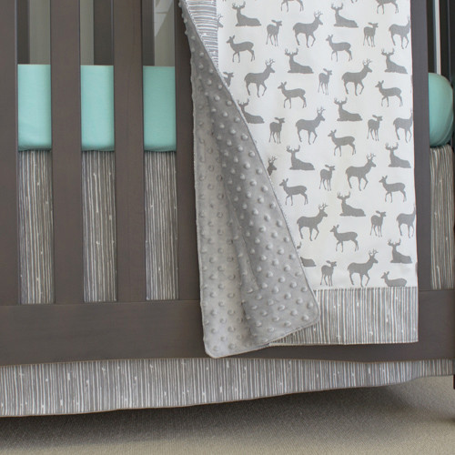 deer blanket with silver minky dot back