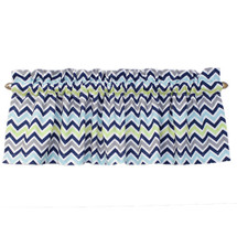 "CHEVRON NAVY Nursery Valance -Panel Style 104"" Long"