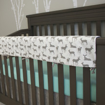 crib rail protector in grey deer fabric