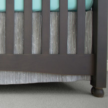 "17"" long grey bark crib bed skirt"