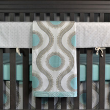 AQUILA 4PC Crib Bedding Set  (Blanket, Crib Skirt, Sheet, & Rail Protector)
