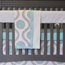 "AQUILA ""Premium"" 4PC Set Crib Bedding - Blanket, Crib Skirt, Forever Crib Sheet & Crib Rail Protector"