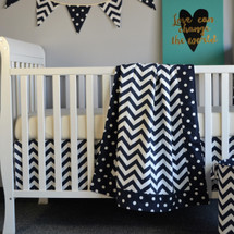 "SIMPLY NAVY ""Classic"" 3PC Baby Crib Bedding Set (Blanket, Crib Skirt & Crib Sheet)"