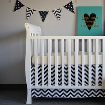"SIMPLY NAVY  ""Premium"" 2PC Baby Crib Bedding Set (Bed Skirt, Crib Sheet)"