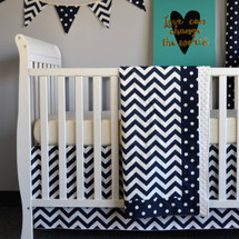 "SIMPLY NAVY ""Premium"" 3 PC Set Crib Bedding (Blanket, Skirt, Sheet)"