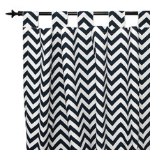 SIMPLY NAVY Long Nursery Drapes - Tab or Rod Top-  Zig Zag (Set of 2)