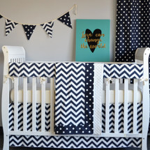 "SIMPLY NAVY ""Premium"" Smart Set (Blanket, Bed Skirt, Crib Sheet, Rail Protector)"