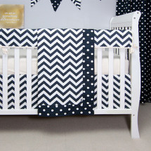 "SIMPLY NAVY ""Classic"" Smart Set (Blanket, Bed Skirt, Crib Sheet, Rail Protector)"