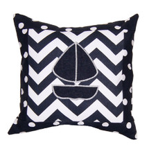 SIMPLY NAVY Boat Applique Nursery Pillow