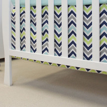 CHEVRON NAVY Crib Skirt