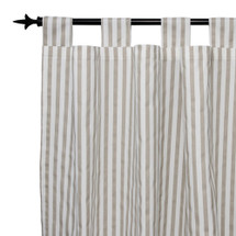 AQUILA Long Tab Top Nursery Drapes (Set Of 2) Tan Stripe Print