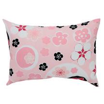 GROOVY GIRAFFE Lumbar Nursery Pillow - Floral Pink