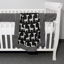 GROOVY GIRAFFE 4PC Baby Crib Bedding Set (Blanket, Skirt, Sheet, & Rail Protector)