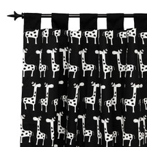 GROOVY GIRAFFE Long Nursery Drapes - Tab or Rod Top - Giraffes (Set of 2)