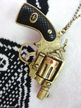 Betsey Johnson Bang Bang Gun Charm Necklace Runway Show Pendant Guns Bullets