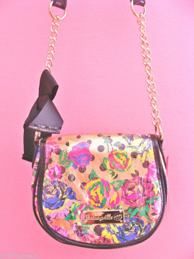 Betsey Johnson Blooming Flowers Roses Gold Crossbody Chain Bag Pink Yellow Blue