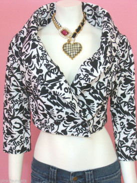 Betsey Johnson Bj Love Embroidered Black White Jacket Duchess top