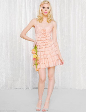 Betsey Johnson Bell Epoque Ruffle Pink Silk Dress