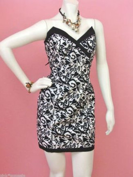 Betsey Johnson Bj Love Embroidered Cotton Sheath Black White Heart Devil Dress