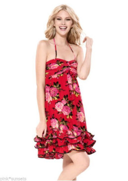 Betsey Johnson Betsey Rose Charmeuse Silk Babydoll Red Dress Pink Roses