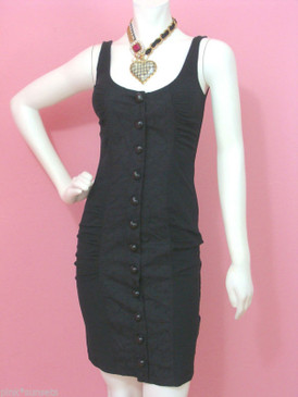 Betsey Johnson BLACK Queen of Hearts Embroidery Sheath Dress Heart Buttons