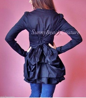 Betsey Johnson Black Bustle Show Jacket Top Coat