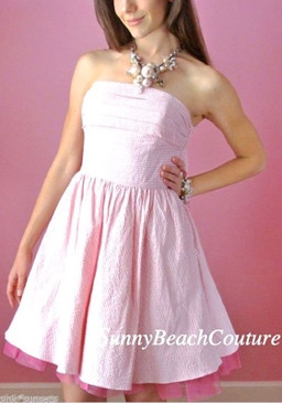 Betsey Johnson Bow Back Pink White Seersucker Crinoline Peticoat Dress