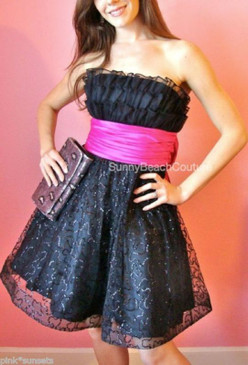 Betsey Johnson Black Cotillion Strapless Dress Pink Bow Sequins Prom Party