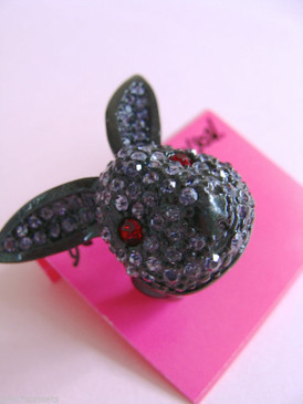 Betsey Johnson Dark Forest Pave Bunny Rabbit Stretch Ring
