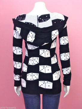 Betsey Johnson Dice Sweater Long hoodie Zip Front Runway Black White Cardigan