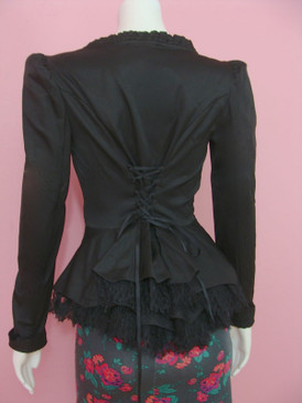Betsey Johnson Cotton Sateen Bustle Jacket Black Ruffle Lace Up