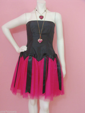 Betsey Johnson Evening Black Corset Pink Tulle Evening Dress Bustier Prom Party