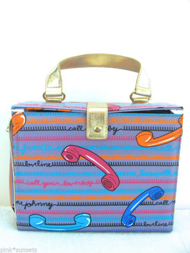 Betsey Johnson Call Me Betsey Lavender Phone 3 PC Cosmetic Bag Set