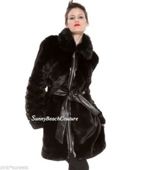 Betsey Johnson Fur Black Belted Coat Faux Fox Jacket