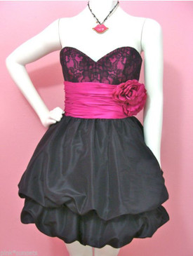 BETSEY JOHNSON Chelsea Bubble Dress Prom Party Wedding Black Lace pink