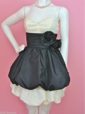 BETSEY JOHNSON Chelsea Bubble Dress Prom Party Wedding Black White Sequins
