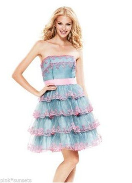 Betsey Johnson Evening Von Trapp Strapless Dress Blue Pink Embroidery Prom Party