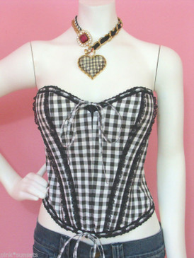 Betsey Johnson Gingham Voile Corset Black White Lace Up Bustier Runway Top