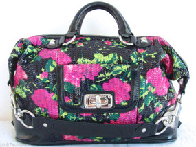 Betsey Johnson GLitzy FLoral Black Pink Green Sequin Leather Satchel Bag
