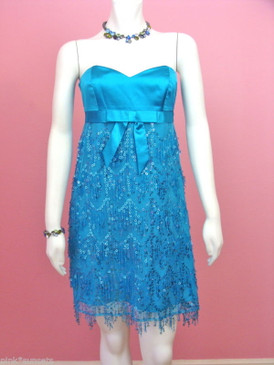 Betsey Johnson Evening Sequin Twist And Shout Dress Blue or Black Party Cocktail