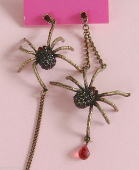 Betsey Johnson Chrystal Spider Mix Match Earrings Vintage Large Spiders