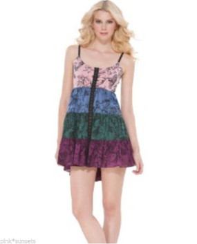 Betsey Johnson Garden Toile Butterfly Flowers Tiered Slip Dress