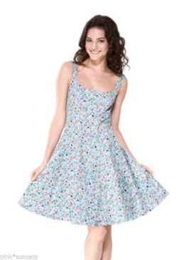 Betsey Johnson GARDEN DELIGHT KNEE LENGTH SATEEN DRESS BLUE FLOWERS